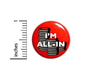 Poker I'm All In Button Chips Red Texas Hold 'Em Jacket Pin Cool Gift 1 Inch #39-30
