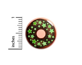 Cute Donut Stars Pink Button Cute Geeky Nerdy Backpack Jacket Pin 1 Inch #46-19 -