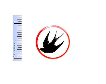 Swallow Button Rockabilly Swallows Black White Red Pin Pinback Sailor Tattoo 1 Inch