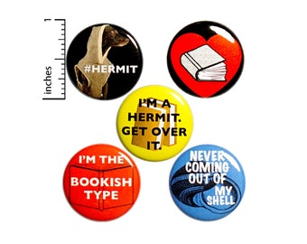 "Hermit Buttons Funny Introvert 5 Pack of Backpack Pins Sarcastic Pinbacks Cute Lapel Pins Book Badges Introvert Gifts Gift Set 1"" P26-1"