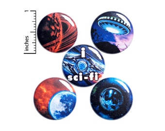 Space Pins, Planet Pins, Sci-Fi Buttons or Fridge Magnets - Pin for Backpack - Pinback or Magnet Set - Cool Gift - 5 Pack Set 1 Inch SP2-4