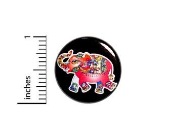 Pink Mandala Elephant Rad Tattoo Style Awesome Jacket Backpack Pinback 1 Inch #60-11
