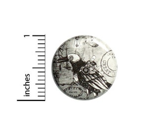 Dieselpunk Mechanical Bird Button // for Backpack or Jacket Pinback // Steampunk Gift Pin // 1 Inch 9-1
