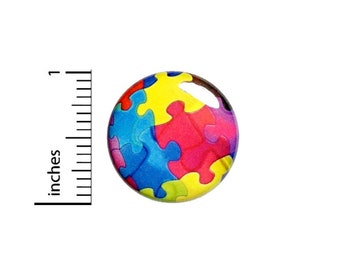 Autism Spectrum Awareness Button // Puzzle Pieces Pin For Backpack or Jacket // Pinback 1 Inch 4-32