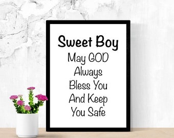 May God Bless You, Sweet Little Boy, New Baby Sign, Gift for Godson, From Godparents, Nursery Gift, Sweet Prayer for Baby, Digital Wall Art