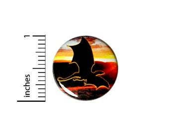 Dragon Sunset Button // for Backpack or Jacket Pinback // Fantasy // Geek Fan Pin // 1 Inch 11-25