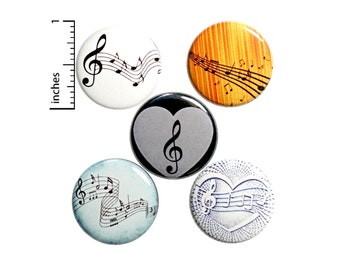 Music Note Gift Set, Pin Buttons or Fridge Magnets, Backpack Pin 5 Pack, Sheet Music, Classical Music, Musician Gift, 1 Inch, Gift Set P28-4