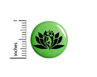 Lotus Flower Green Button Pin for Backpacks or Jackets Pinback Cool Badge Lapel Floral Nature Yoga Cute 1 Inch 55-9
