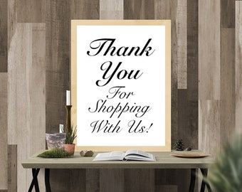 Thank You For Shopping With Us, Printable Sign, Small Business Sign, Boutique, Thank You Sign, Beautiful, Cursive, Digital Wall Sign