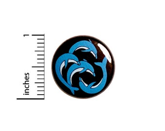 Dolphin Button // Sea Life // Dolphins // Porpoises // Beach // Coastal Badge //  Cute Pin 1 Inch 94-20