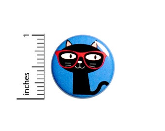 Funny Geeky Kitty Button Cartoon Cat With Glasses Rad Backpack Pin Nerdy Awesome Jacket Badge Pinback 1 Inch #69-29