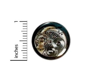 Steampunk Button // Skeleton Watch Pinback for Backpack or Jacket // Dieselpunk Gears Wheels Cogs Pin // 1 Inch 14-12