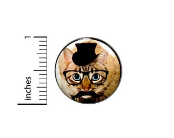 Funny Cat In Glasses Disguise Random Humor Nerdy Geeky Backpack Pin 1 Inch #36-4