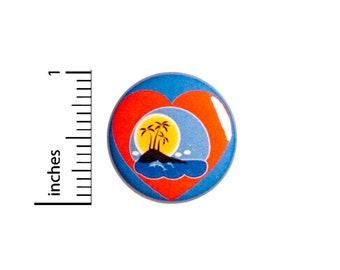 Tropical Scene Pin // Travel Button // Love Travel // Sea Life // Dolphin Button // Cute Pin 1 Inch 94-27