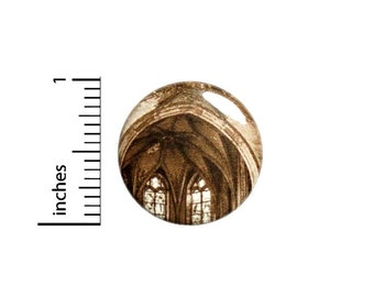 Cathedral Button, Gothic Style Pin, Architectural Badge, Old Church, Cool Pinback, Backpack Pin, 1 Inch 2-23
