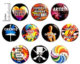 Artist Creative (10 Pack) Buttons for Backpacks or Fridge Magnets // Artistic Badges // Creative Lapel // Gift Set Pins // 1 Inch 10P12-2