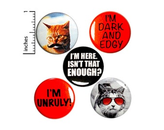 "Unruly Pins for Backpacks or Fridge Magnets, Funny Cats, Mustache Cat, Cat with Sunglasses, 5 Pack, Random Humor, Gift Set 1"" P45-5"