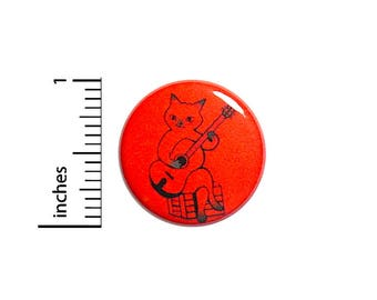Guitar Kitty Cute Siamese Cat Button Red Music Pin Jacket Pinback 1 Inch Gift #41-32