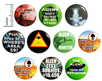 Aliens Buttons (10 Pack) Buttons for Backpacks, or Fridge Magnets, Alien Pinbacks, Badges, Lapel Pins, Gift Set 1 Inch 10P15-2