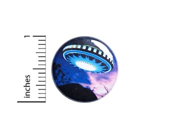 UFO Sci-Fi Button Pin or Fridge Magnet, Space, Aliens, Backpack Pin, Lapel Pin, Pin for Backpacks or Fridge Magnet, Gift, 1 Inch 95-24