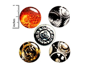 "Steampunk Gears 5 Pack - Backpack Pins // Button // Lapel Pin // Cool Brooch, Badge // Cosplay // Steampunk - Gift Set 1"" E1-1"