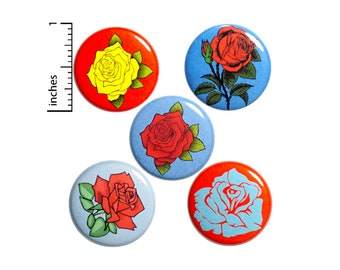 Rose Buttons Cool Flower Roses Pins for Backpacks or Jackets Lapel Pins Badges 5 Pack Gift Set 1 Inch P37-3