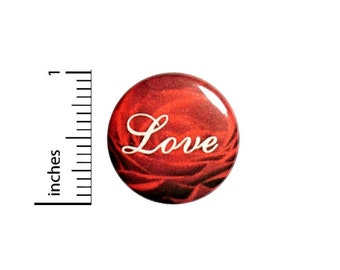 Wedding Favors Anniversary Party Button // Love Red Rose Pinback // Romantic Elegant Pin // 1 Inch 12-8