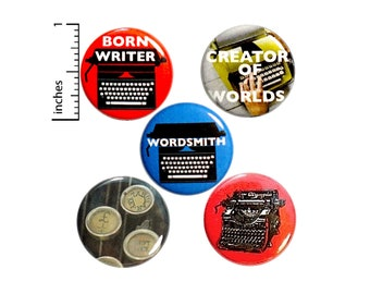 "Writer Pins 5 Pack of Buttons Lapel Pins Badges Novelist Blogger Travel Writer Gift Set 1"" #P13-3"