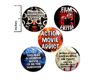 "Movie Critic Pin for Backpack, Buttons or Fridge Magnets, Action Movies, Lapel Pins, Badges, Movie Fan Gift Set, 5 Pack 1"" P34-5"