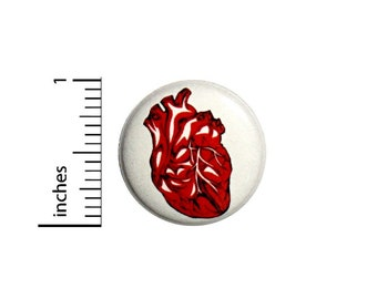 Red Anatomical Heart Button Tattoo Style Backpack Pin Rad Love Geeky Pinback 1 Inch