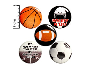 "Sports Buttons or Magnets - Pins for Backpacks or Jackets - Football - Basketball - Soccer - Hockey - Track - 5 Pack - Gift Set 1"" P33-5"