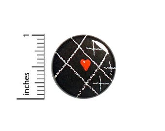 Cute Tic Tac Toe Heart Chalkboard Button Badge Pin Geeky Valentine Love 1 Inch #50-6