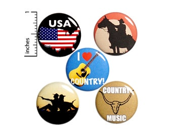 "Country Pins for Backpacks or Fridge Magnets, Buttons Pins for Jackets, Lapel Pins, USA, Country Music Pin, Badges, 5 Pack Gift Set 1"" P44-4"