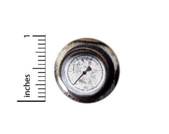 Steampunk Button // Backpack or Jacket Pinback // Vintage Style Gauge Dieselpunk Pin // 1 Inch 13-26