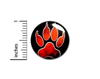 Wolf Paw Button Backpack Pin Orange Pinback Jacket Badge Cool Rad 1 Inch 75-9