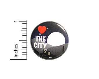 Love The City Button Backpack Pin 1 Inch #84-16