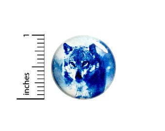 Cool Blue White Wolf Winter Button Badge Backpack Jacket Pin Random 1 Inch #50-14
