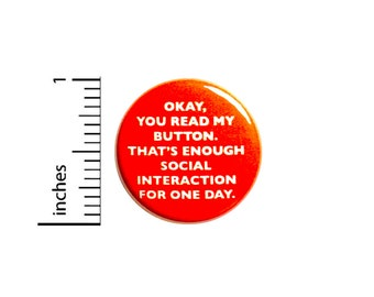 Funny Introvert Button Backpack Pin Funny Pinback Lapel Pin Sarcastic Button Cute Brooch Jacket Pin 1 Inch  #83-7