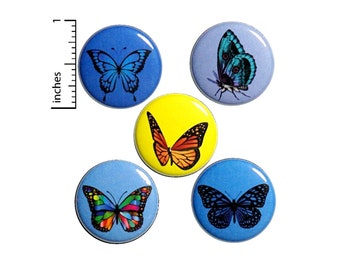 "Butterfly Buttons or Fridge Magnets // Backpack Pins // Cute Brooch // Lapel Pins // Butterflies // 5 Pack // Magnets // Gift Set 1"" #P2-3"