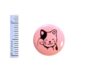 Lucky Cat Button Cute Cartoon Anime Cat Kitten Pink Gift Backpack Pin Pinback 1 Inch #24-5