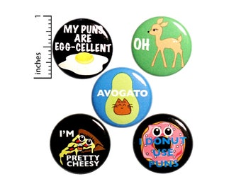 "Pun Buttons 5 Pack of Backpack Pins Lapel Pins Cool Brooches Badges Cute Pins Puns Gift Set 1"" P19-4"
