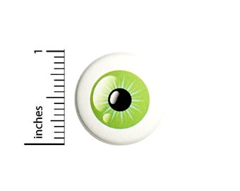 Eyeball Button Pin Weird Odd Green Eye Badge for Backpacks or Jackets Bizarre Wacky Strange Cool Pinback Lapel Pin 1 Inch 88-25