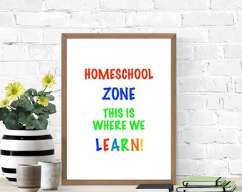 Homeschool Sign, Printable Poster, Digital Wall Sign, Cute Poster, Primary Colors,  Living Room Sign, Teaching At Home, School Sign