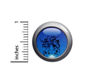 Octopus Porthole Button Pin Rad Upside Down Sea Creature Tentacles Cool Pinback 1 Inch #61-15 -