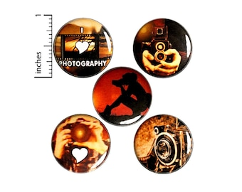 Photography Buttons Or Fridge Magnets - Cool Photographer - Magnet or Pin - Creative Person Gift Set - 5 Pack - 1 Inch - SP3-1