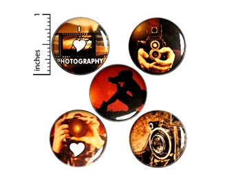Photography Buttons Or Fridge Magnets, Photographer Gift, Photography Gifts, Magnet or Pin Set, Photographer Gift Set, 5 Pack, 1 Inch SP3-1