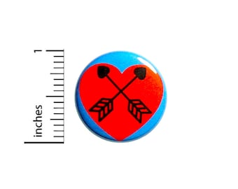 Cute Heart Arrows Button Pin 1 Inch 85-19