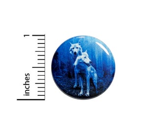 Winter Wolves Button Backpack Pin White Grey Wolf Pinback Jacket Badge 1 Inch 65-9