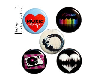 "Music Pin Buttons or Fridge Magnets, DJ Gift Set, Record Backpack Pin 5 Pack, Kitchen Magnets, Music Lover Gifts,  Musician Gift, 1"" P14-4"