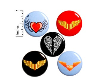 Heart Wings Pin for Backpack, Buttons or Fridge Magnets, Edgy, Tattoo Style, Rad, Cool, Wing Pin or Magnet 5 Pack, Gift Set, 1 Inch #P48-5